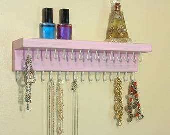 Necklace Holder - Jewelry Organizer - Jewelry Storage - 31 Hooks - Shelf - Shabby Pale Pink - Many Other Colors Too - Ready To Hang