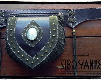 Leather Utility Belt - Festival Belt with MOONSTONE. HANDMADE by Sibo Yanke. [Boho Belt]