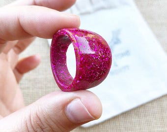 Pink Glitter Ring - Large Resin Ring - Dome Ring - Glitter Ring - Pink Jewelry - Resin Ring - Large Ring - Resin Ring Large - Size 12