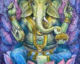 Good luck Ganesha Hindu elephant Buddha Spiritual Art Ganesh lotus meditation poster print of painting by Sue Halstenberg