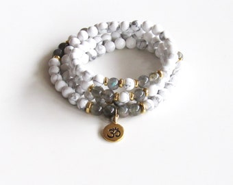 Labradorite and Howlite Wrap Bracelet ~ 108 Mala Necklace Labradorite Mala Howlite Mala Yoga Necklace Meditation Necklace Gift