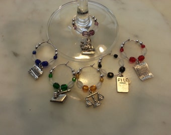 Lawyer Legal Judge  Wine Charms w/ Pouch v7