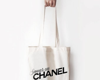 """Canvas Bag, """"Swear on Chanel."""" Printed Tote Bag, Market Bag, Cotton Tote Bag, Large Canvas Tote, Funny Quote Bag"""