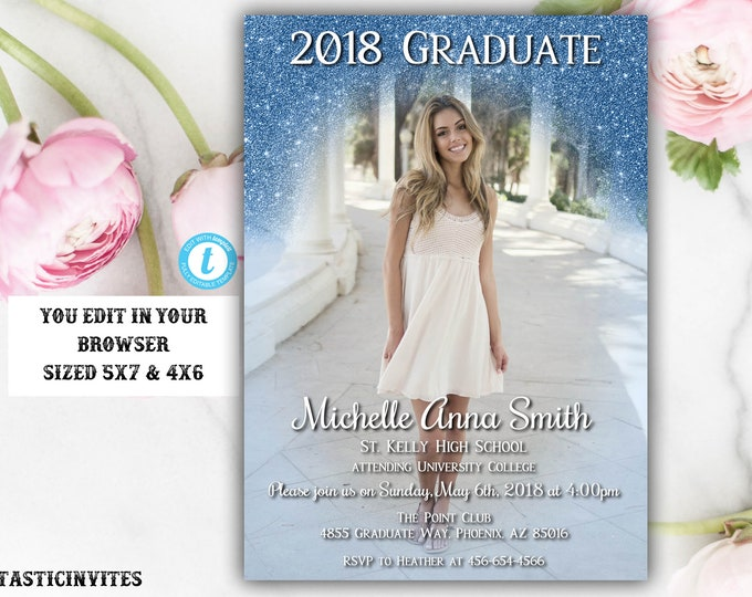 Blue Grey Graduation Invitation Template, Instant Download, Glitter, Editable, Class of 2018, Graduation, Senior, High school, College, Edit