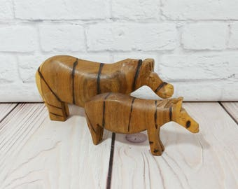 Vintage Carved Wood Striped Hippo Statue Figure Set of 2