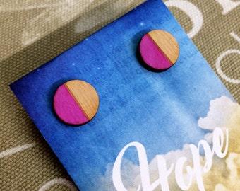 Geometric Earrings / Circle Earrings / Hand Painted Earrings / Pink Earrings / Wooden Earrings / Stud Earrings / Stocking Stuffers
