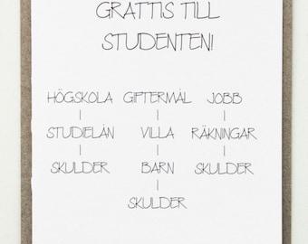 grattis till studenten kort text Graduation card congratulations | Etsy AU grattis till studenten kort text