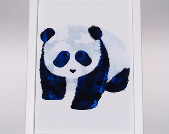 Panda print, Baby panda print, Paper collage art, Nursery wall art, Childrens room decor, Baby gift, Cute animal art