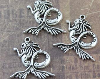 10 Large Mermaid Charms Mermaid Pendants Antiqued Silver Tone 27 x 25 mm