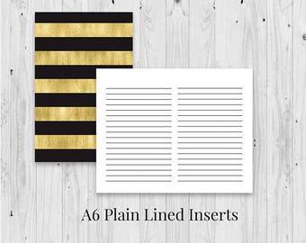 TN inserts, travelers nb, plain tn insert, a6 writing journal, a6 traveler notebook, updated inserts, lined insert, traveler's insert,