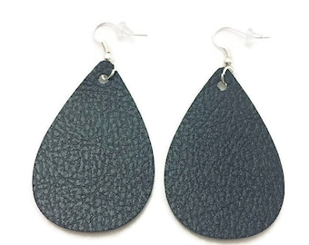 Leather Teardrop Earrings, Black Pebbled Leather Teardrop Earrings, 2 inches long, Silver Earring Wires, Backings, Faux Leather Earrings