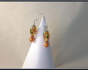 Boucles d'oreille perle verre Italian style, perle verre beige orangé