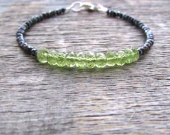 Peridot Bracelet, Peridot Jewelry, Mystic Spinel Bracelet, August Birthstone Bracelet, Stack Bracelet, Gemstone Bracelet, Peridot Birthstone