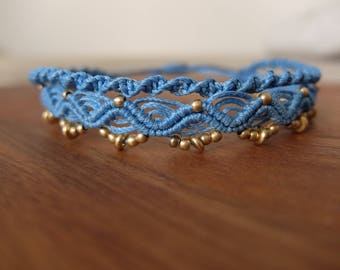 Macrame Anklet light blue