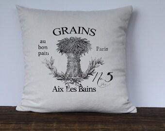 Farmhouse Pillow Cover, French Grains Pillow Cover, Decorative Pillow Cover, Couch Pillow Cover, Custom Pillow Cover, Custom Pillow Cases,
