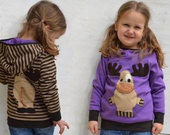 Girl reversible moose/reindeer hoodie,moose sweater,kids  gift,toddler hoodie,violet/purple jersey