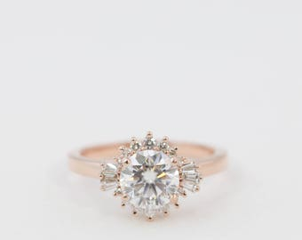 Halo Engagement Ring, Moissanite Engagement Ring, Diamond Engagement Ring, Engagement Ring, Diamond Ring, Morganite Ring, Rose Gold Ring