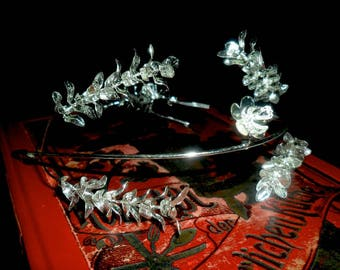 Elegant Vintage German Myrtle Wedding Crown with Myrtle Partner Brooch~25th Wedding Anniversary Crown~Bridal Crown~ Elegant  Myrtle Crown