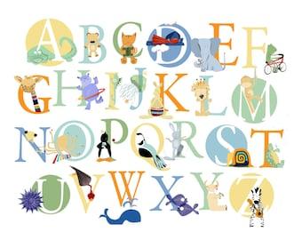 Childrens Decor, Nursery Wall Art, ABC Wall Art, Alphabet Animals Art Print - choose Boy or Girl or Both or Neutral