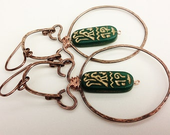Blue-Green Cartouche Hammered and Oxidized Earrings Handmade