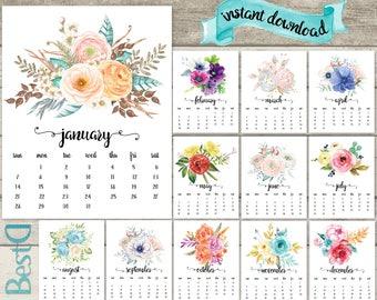 2018 calendar,watercolor flowers calendar,2018 printable calendar,12 pages monthly calendar,Instant Download calendar,2018 floral calendar