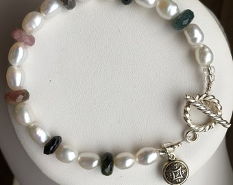 Bracelet — Watermelon Tourmaline and Freshwater Pearls with Sterling Compass Charm
