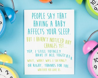 Baby Affects Sleep Card, New Baby, Baby, Thank You