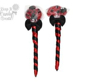 Ladybug Lollipop Pen, Lollipen, Lollipop Pen, Candy Pen, Wedding, Party Favor, Baby Shower Favor, Ladybug birthday favor, Ladybug candy pen