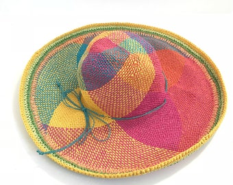 vintage 60s 70s rainbow SUN hat floppy straw hat style bright vibrant hat