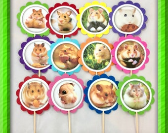 Hamster cupcake toppers OR tags | 12 Guiney Pig favors, Hamster personalized decorations, Hamster party decor