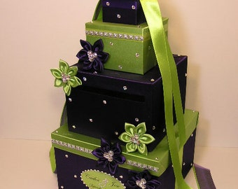 Wedding Card Box Lime Green and Purple Gift Card Box Money Box Holder--Customize your color