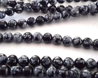 Snowflake Obsidian Stone Beads G1047