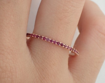 Ruby Eternity Ring Ruby Band Wedding Band Gold Rubies Red Ruby Wedding Band Ladies Rudy Wedding Band Gold Ruby Ring Stackable Half 1.3mm