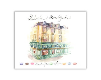 Laduree shop Paris print, Watercolor painting, Parisian architecture, French Home decor, Architectural poster, Paris wall art, Street sketch