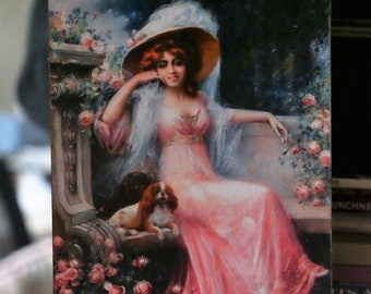Wood Plaque of Edwardian Girl with her Cavalier King Charles Spaniels