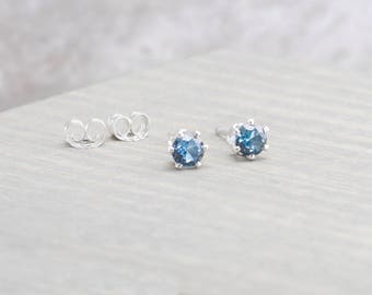 Sterling Silver Blue Zircon Stud Earrings - December Birthstone Earrings - 4mm Studs - December Birthday - Blue Earrings - Christmas Gift