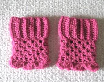 Girls Boot Cuffs, Crochet Boot cuffs, Deep Pink Fuchsia Boot Cuffs, Gift for Valentine, Boot socks, Shoe socks
