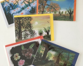 5 pack of greeting cards (blank inside) Prints of my art