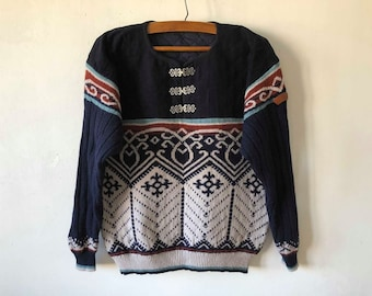 Nordic Sweater Blue Wool Norwegian Design Quilted Winter Pullover Hook Closure Classic Sweater Knitted Snow Norwegian Sweater Size Medium