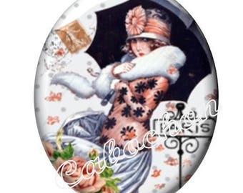2 cabochons 25mm x 18mm, Dame de Paris, vintage, umbrella, miss, glass cabochons