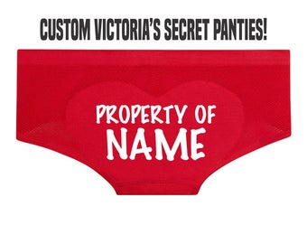 PROPERTY OF NAME Victoria's Secret Boyshorts Underwear Panties Booty Short Ass Butt Sexy Heart Custom Personalized Wife Valentine's Day Gift