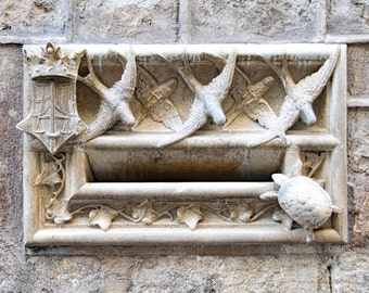 decorative, marble letterbox, Barcelona, Spain, birds, turtle, foyer decor, front door decor, travel photography, Spain home decor, 11x14
