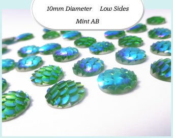 10 x 10mm Mint Green AB Mermaid Fish Scale Cabochons - Australia
