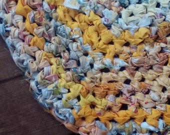 Yellow Oval Crocheted Rag Rug