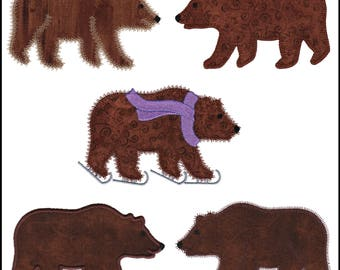 Studio Bear #1 applique machine embroidery design set. Instant download available. Hoop size is 5.75 X 3.5.