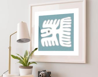 Beach house decor with Mayan blue bird art print, boho bedroom decor, tribal pattern, tropical wall print, bird art painting, naive art