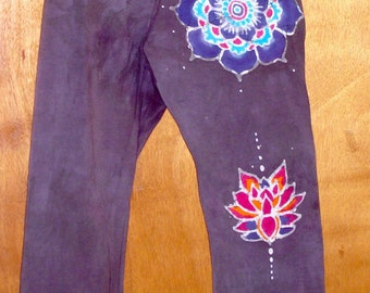 Yoga Pants with a handmade Batik Mandala on the top  middle and bottom of the left leg junior