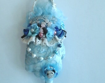 OOAK Christmas Holiday Ornament Glove Sterling Silver Pearls Lace Frill