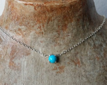 Turquoise choker necklace - 5mm genuine Turquoise choker necklace in Sterling Silver or Gold