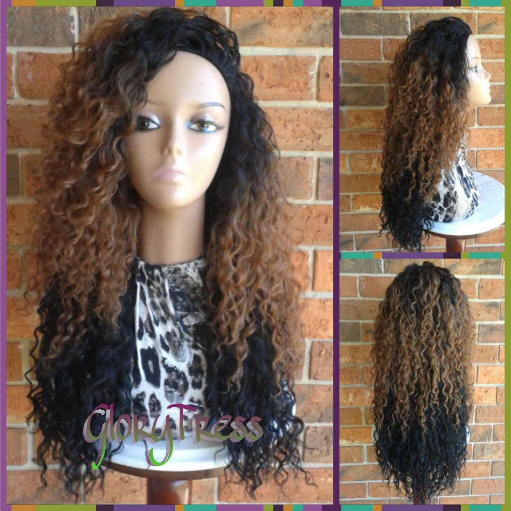 ON SALE // Long Kinky Curly Half Wig Ombre Wig Long Beach